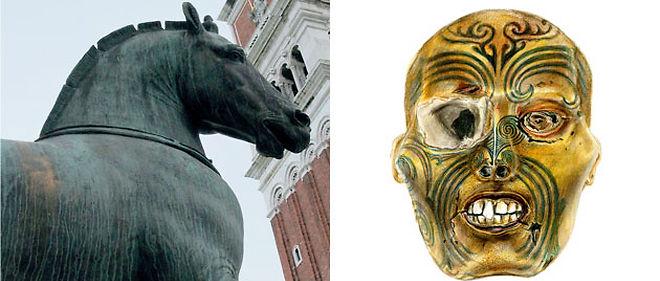 Un certain nombre d'oeuvres sont réclamées à l'Occident. C'est le cas des chevaux de Saint-Marc de Venise (à gauche) et du Maori de Rouen (à droite). ©Jaubert/Sipa, Delphine Zigoni/Museum de Rouen.