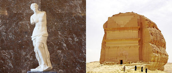 À gauche : la Vénus de Milo. À droite : un tombeau creusé dans les falaises du site archéologique Mâda'in Sâlih
