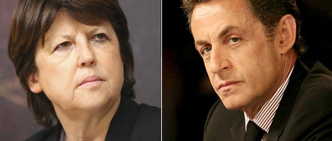 Dans un nouveau sondage, Martine Aubry devance Nicolas Sarkozy pour la présidentielle 2012 © Montage lepoint.fr