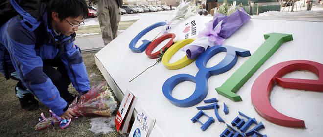 La licence d'exploitation de Google en Chine a été renouvelée par le gouvernement chinois (photo prise le 15 janvier dernier devant le siège de Google à Pékin) © Vincent Thian/AP/SIPA