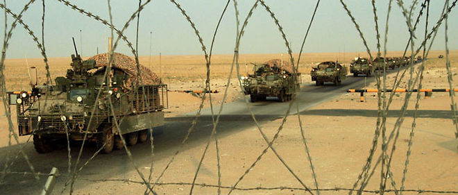 Les chars américains ont franchi la frontière entre l'Irak et le Koweït jeudi 19 août, à l'aube © Maya Alleruzzo/AP/SIPA