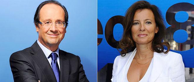 François Hollande et Valérie Trierweiler, journaliste sur Direct 8 © Montage Le Point.fr