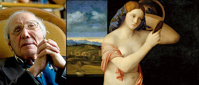 """À g. : Paul Veyne nous invite à un vagabondage dans la peinture italienne de Giotto à Tiepolo. À droite : """"Jeune femme au miroir"""" (1515, 62 x 79 cm, Kunsthistorisches Museum, Vienne) de Giovanni Bellini (vers 1430-1516). © DR"""
