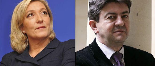 La président du Front national Marine Le Pen a débattu durant près d'une heure, lundi matin, avec le leader du Front de gauche, Jean-Luc Mélenchon.