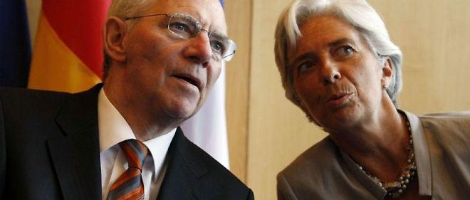 Les ministres de l'Économie allemand et français, Wolfgang Schäuble et Christine Lagarde.