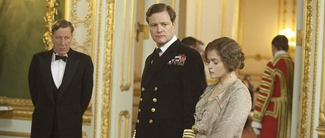 "Geoffrey Rush, Colin Firth et Helena Bonham Carter dans ""Le discours d'un roi"", un film de Tom Hooper."