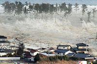 Une vague emportant tout sur son passage est remontée dans les terres.  ©Newscom