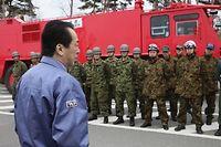 Le Premier ministre japonais Naoto Kan s'est rendu à Fukushima, pour la première fois depuis le drame. ©Ho News
