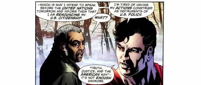 Dans le 900e numéro de ses aventures, Superman envisage de renoncer à la nationalité américaine. Une décision qui indigne les commentateurs conservateurs.