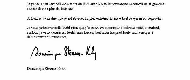 Document La Lettre De Demission De Dsk Au Fmi Le Point