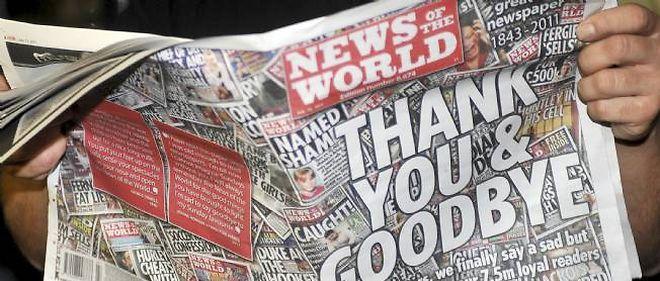 """""""News of the World"""", accusé d'avoir écouté près de 4 000 personnes - hommes politiques, membres de la famille royale britannique et autres célébrités - pendant les années 2000, a été contraint de fermer cet été."""
