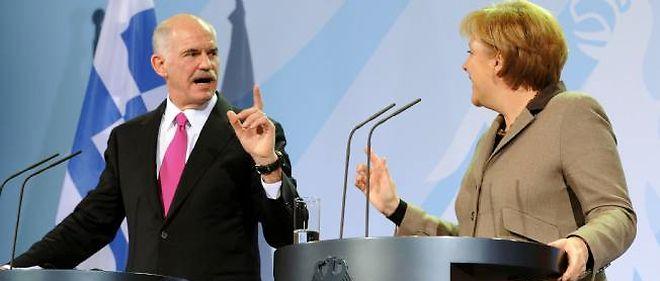 Georges Papandréou et Angela Merkel, le 5 mars 2010 à berlin