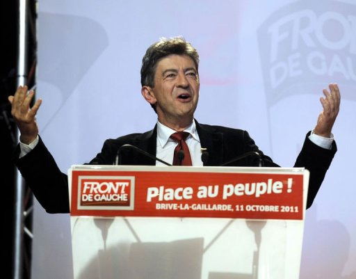 Jean-Luc Melenchon, candidate for France's 2012 presidential election for the Left Front coalition of his Parti de Gauche (Left Party) and the communist party delivers a speech during a campaign meeting, on October 11, 2011 in Brive-la-Gaillarde, southwestern France. AFP PHOTO JEAN PIERRE MULLER