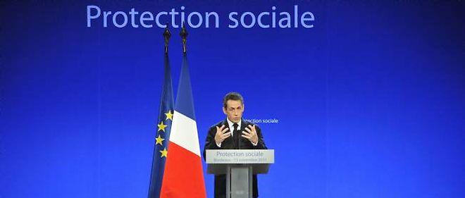 """Nicolas Sarkozy a prononcé un discours à Bordeaux en faveur de """"l'adaptation"""" du système de protection sociale français."""