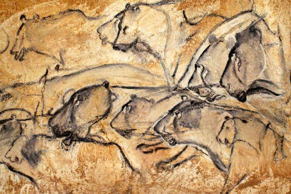Le panneau des lions des cavernes