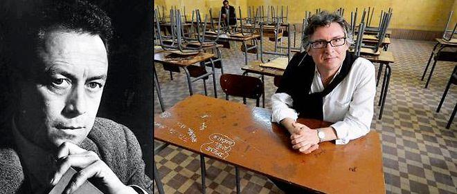 À gauche : Albert Camus sous l'objectif de Yousuf Karsh, vers 1959. À droite : Michel Onfray à Alger, début novembre dans une salle de classe du lycée Bugeaud, où Camus entra en 1924.