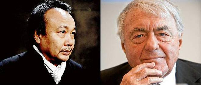 """Rithy Panh (à gauche), dont toute la famille a été victime des Khmers rouges, a filmé la confession de Duch. À droite : Claude Lanzmann, interviewé par Élisabeth Lévy, pour """"Le Point""""."""