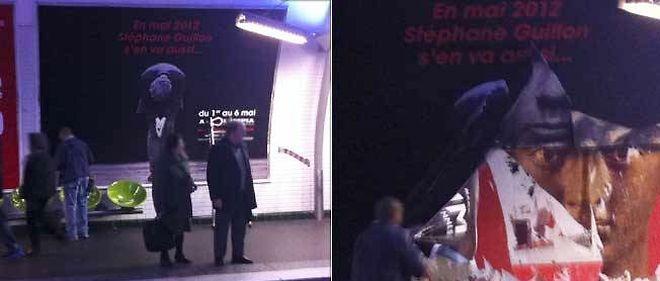 L'affiche du nouveau spectacle de Stéphane Guillon n'aura été visible que quelques heures, jeudi matin, dans le métro parisien.