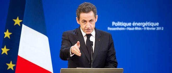"""Nicolas Sarkozy à Fessenheim, le 9 février dernier, lors d'un discours sur le nucléaire. """"Un véritable meeting de campagne"""", selon Manuel Valls."""