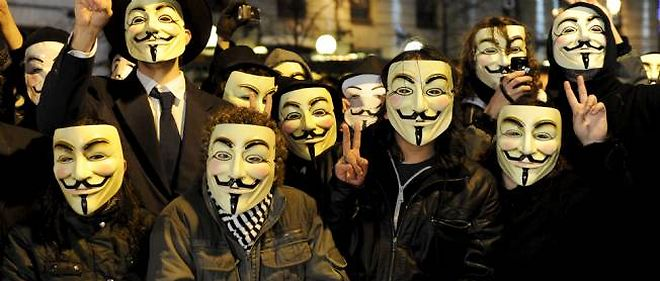 Manifestation d'Anonymous a Madrid.