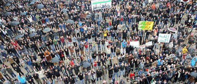 Manifestation à Idlib, au nord de la Syrie, le 17 février 2012.