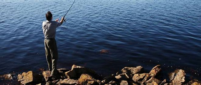 Un pêcheur aux îles Malouines.