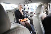 Christine Lagarde, présidente du FMI, dans sa voiture de fonction ©Jean-Paul Guilloteau/Express-REA