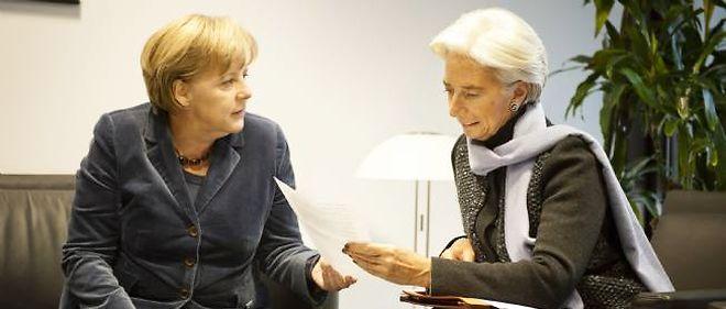 La chancelière allemande Angela Merkel et la patronne du FMI, Christine Lagarde.