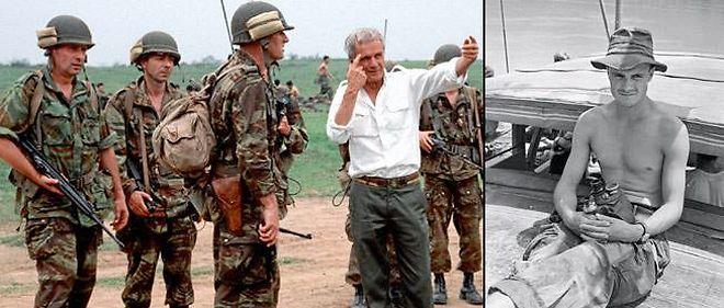 """En 1991, Pierre Schoendoerffer sur le tournage de """"Diên Biên Phu"""" (à gauche). En mai 1953, en Indochine, le caporal-chef Schoendoerffer, alors cameraman des armées (à droite)."""