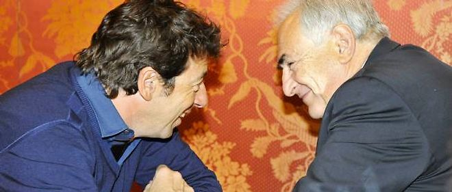 Patrick Bruel et Dominique Strauss-Kahn le 13 mars 2012 a Paris.