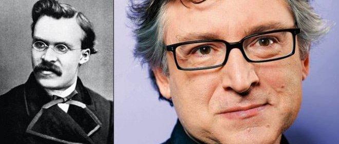 """À droite : Michel Onfray, le philosophe. Son dernier livre paru : """"L'ordre libertaire""""(Flammarion). À gauche : Nietzsche, étudiant à Leipzig, en 1867. Il a 23 ans."""