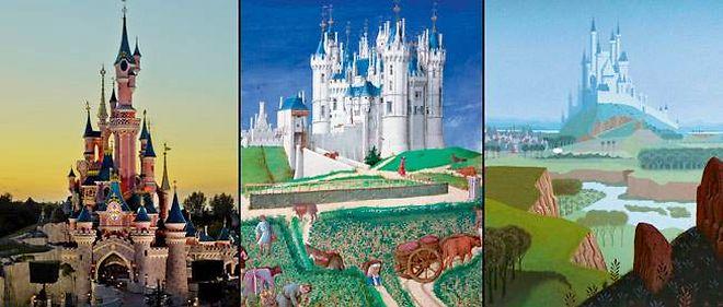 """Le château de Saumur (au centre), issu du manuscrit enluminé des """"Très riches heures du duc de Berry"""" (XVe siècle), fut l'une des nombreuses sources d'inspiration du château de """"La belle au bois dormant"""" (à droite) et de celui, bien réel (à gauche), du parc Disneyland Paris."""