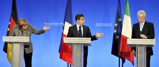 Nicolas Sarkozy, Angela Merkel, Mario Monti ont pour l'instant mis l'accent sur la rigueur.