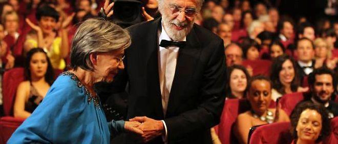 """Emmanuelle Riva dimanche dernier à Cannes avec le réalisateur Michael Haneke, après l'annonce de la Palme d'or pour """"Amour""""."""