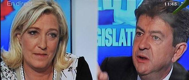 """Jean-Luc Mélenchon et Marine Le Pen se sont affrontés lors d'un débat """"Front contre Front"""" haut en couleur."""