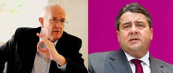 Marcel Gauchet (g.), directeur d'études à l'EHESS, et Sigmar Gabriel, président du SPD.