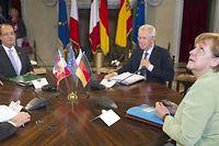 Mariano Rajoy, Angela Merkel,Mario Monti et François Hollande lors de leur sommet à quatre à Rome. ©Lionel Bonaventure