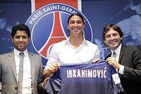 Nasser Al-Khelaifi, le président du PSG, Zlatan Ibrahimovic et le directeur sportif, Leonardo. ©Bertrand Guay