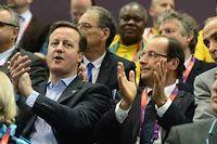 Le président françois Hollande a regardé le match de handball féminin France - Espagne en compagnie du premier Ministre anglais David Cameron. ©Javier Soriano