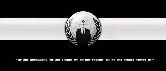 Le logo et le slogan d'Anonymous. (C) Joe Designata