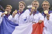 Les Français du relais 4 x 100 mètres nage libre sont devenus champions olympiques. ©Fabrice Coffrini