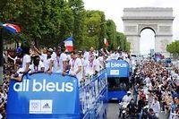 La délégation tricolore présente au Jeux de Londres a défilé sur les Champs-Élysées à son retour en France. ©Mehdi Fedouach