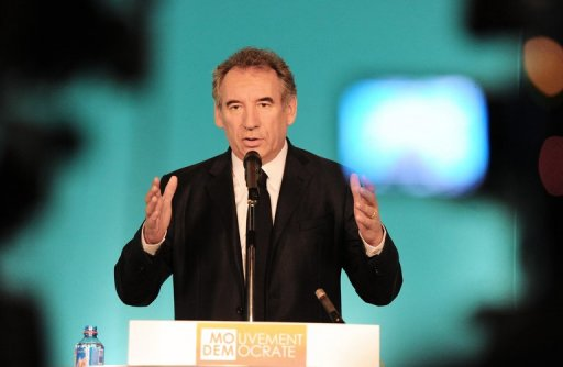 MoDem French centrist party president, Francois Bayrou, gives a speech during a press conference following a party's national council at the MoDem headquarters on June 30, 2012, in Paris. AFP PHOTO / MEHDI FEDOUACH