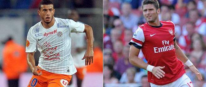 Younès Belhanda et Olivier Giroud s'affrontent ce soir en Ligue des champions.