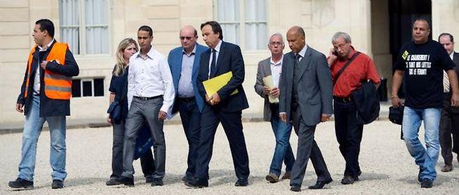 L'intersyndicale de PSA Aulnay à son arrivée à l'Élysée, jeudi.