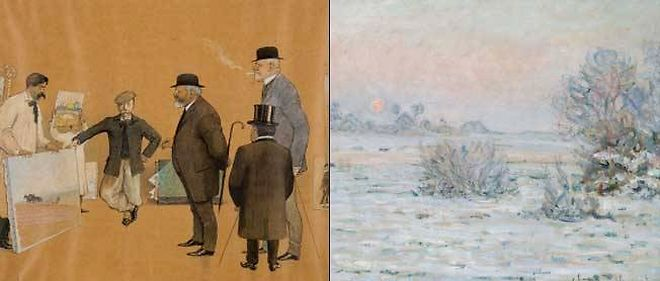 """À gauche : """"Les collectionneurs havrais visitant une galerie de peinture vers 1910"""", de Robert Fremond. À droite : """"Soleil d'hiver, Lavacourt"""" (1879-1880), de Claude Monet (1840-1926). Ancienne collection Charles-Auguste Marande."""