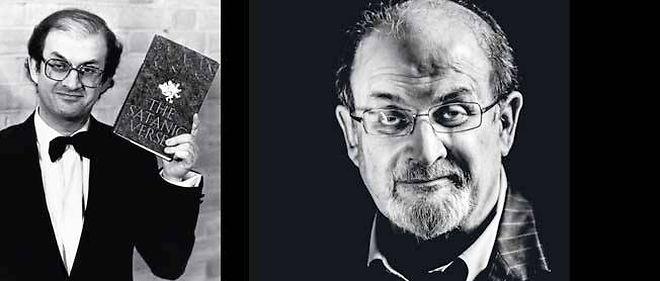 """À gauche : Salman Rushdie et """"Les versets sataniques"""", quatrième roman publié en 1988. À droite : l'écrivain, photographié à Londres, chez son agent littéraire, le 12 septembre."""