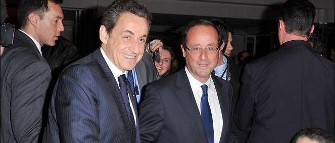 Nicolas Sarkozy et François Hollande au dîner du Crif, en février 2012.