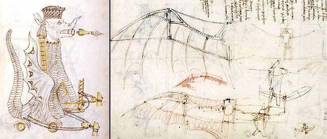 """À g. : imaginée par Roberto Valturio en 1470, l'""""Arabica machina"""" est une machine de guerre arabe en forme de dragon avec des flèches géantes sortant de la bouche. Léonard de Vinci, très intéressé par la guerre, s'inspirera des dessins de cet ingénieur militaire. À dr. : fasciné par le vol, Léonard de Vinci entreprend un travail rigoureux basé sur l'observation, le dessin, la maquette (ici, celle du planeur) dans le but de construire une machine permettant à l'homme de voler."""