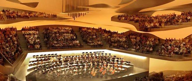 La salle principale de la Philharmonie a été dessinée par l'architecte Jean Nouvel.